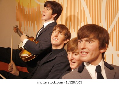 """JULY 10, 2008 - BERLIN: the wax figures of the """"Beatles"""" with Paul McCartney, Ringo Starr, John Lennon and George Harrison - official opening of the waxworks """"Madame Tussauds Berlin"""", Berlin."""