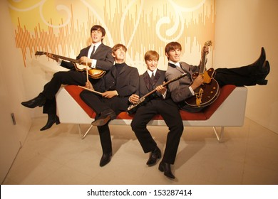 "JULY 10, 2008 - BERLIN: the wax figures of the ""Beatles"" with Paul McCartney, Ringo Starr, John Lennon and George Harrison - official opening of the waxworks ""Madame Tussauds Berlin"", Berlin."