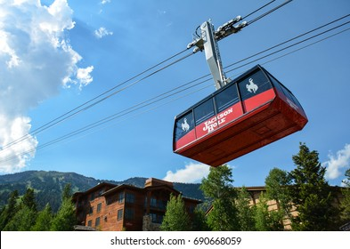 JULY 10 2014 - JACKSON WYOMING: The Jackson Hole Ski Resort gondola aerial tram takes visitors up the mountain during the summer for sightseeing, scenic views and hiking.