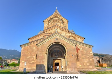 Mtskheta,Georgia - July 10, 2018: TheSvetitskhoveli Cathedral is anEastern Orthodoxcathedrallocated in the historic town ofMtskheta,Georgia, to the northwest of the Georgian capitalTbilisi.