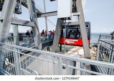JULY 10 2018 - JACKSON WYOMING: The Jackson Hole Ski Resort gondola aerial tram takes visitors up the mountain during the summer for sightseeing, scenic views and hiking.