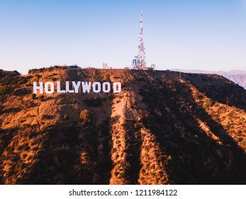 July 10, 2018. Los Angeles, California. Aerial view of the Hollywood sign with an amazing Mount Lee view, in the Hollywood Hills area of the Santa Monica Mountains