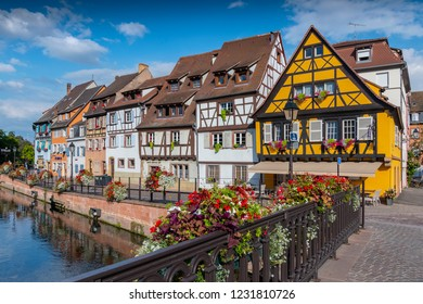 July 10, 2018. View of the historic town of Colmar, also known as Little Venice, with traditional colorful houses near by the river Lauch, Colmar, Alsace, France.
