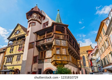 July 10, 2018. Wooden balcony of the medieval house Maison Pfister at Colmar, Alsace France.