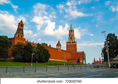 July 11, 2010. MOSCOW. Russia. Spasskaya Tower and Tower of the Moscow Kremlin Nabatnaya.
