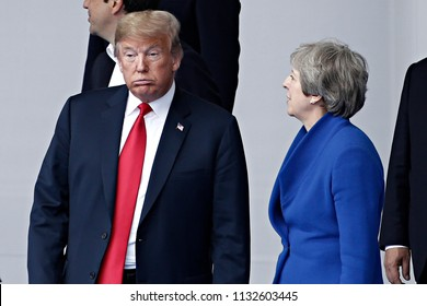 July 11, 2018 - Brussels, Belgium - US President Donald J. Trump and British Prime Minister Theresa May during NATO Summit 2018 in Brussels, Belgium.