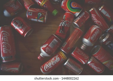 July 11, 2019, at 10.00 o'clock. There are a lot of Coke and Coca-Cola  collectibles used for decorating glass tables.  In Chiang Mai, Thailand