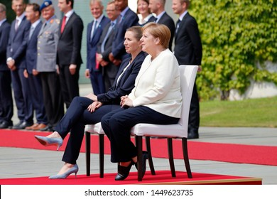 JULY 11, 2019 - BERLIN: Mette Frederiksen, Angela Merkel (on chairs after Merkel's shaking attacks) - meeting of the German Chancellor with the Denish Prrime Minister, Chanclery.