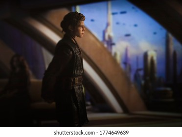 JULY 11 2020: Jedi padawan Anakin Skywalker looking out of his apartment window on Coruscant - Hasbro action figure