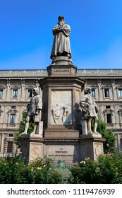 July 12, 2013, Italy, Milan. Monument to Leonardo da Vinci