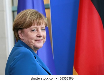 JULY 12, 2016 - BERLIN: German Chancellor  Angela Merkel at a press conference after a meeting with the Irish Prime Minister in the Chanclery.