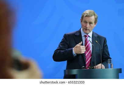 JULY 12, 2016 - BERLIN: Irish Prime Minister Enda Kenny at a press conference after a meeting with the German Chancellor in the Chanclery.