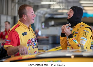 July 12, 2019 - Sparta, Kentucky, USA: Kyle Busch (18) gets ready to practice for the Quaker State 400 at Kentucky Speedway in Sparta, Kentucky.