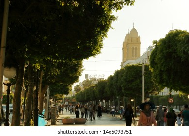 July 12 2019: Tunis, Tunisia: Photo from avenu de bourguiba with in the background The Cathedral of St. Vincent de Paul, is a Roman Catholic church located in Tunis, Tunisia.