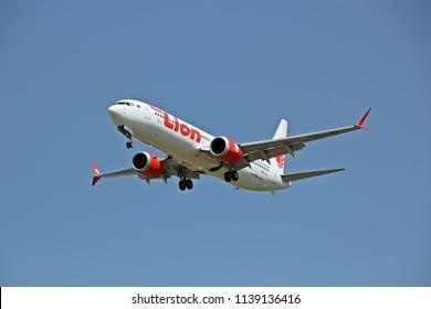 July 1,2018 Thai lion air Boeing 737 MAX 9 landing at Chiang Mai international airport, Chiang mai, Thailand