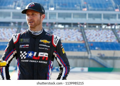 July 13, 2018 - Sparta, Kentucky, USA: Kasey Kahne (95) hangs out on pit road before qualifying for the Quaker State 400 at Kentucky Speedway in Sparta, Kentucky.