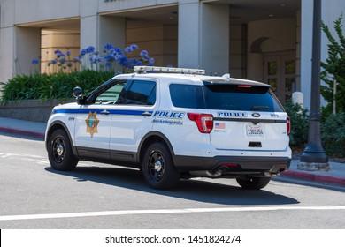 July 13, 2019 Berkeley / CA / USA - Berkeley police car patrolling through UC Berkeley campus in San Francisco bay area