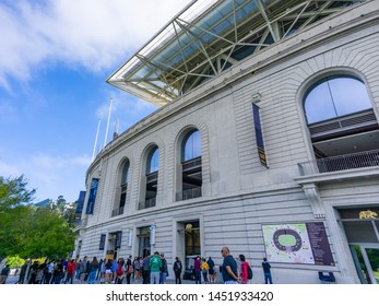 July 13, 2019 Berkeley / CA / USA - People gathered outside Koret Visitor Center, the Historic California Memorial Stadium on the campus of UC Berkeley, home of the UC Golden Bears