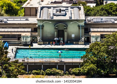 July 13, 2019 Berkeley / CA / USA - Aerial view of Hearst Pool and Hearst Gymnasium at UC Berkeley; San Francisco bay area