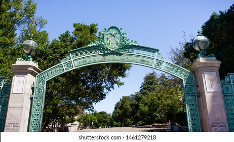 July 13, 2019 Berkeley / CA / USA - The historic Sather Gate on the campus of the University of California at Berkeley; Sather Gate is a prominent landmark leading to Sproul Plaza