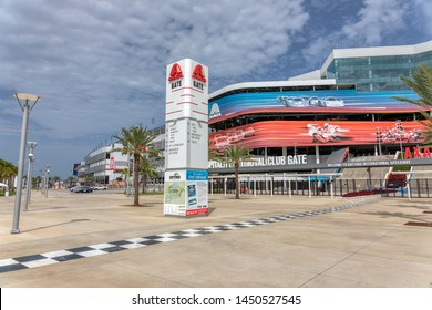 JULY 13, 2019, DAYTONA BEACH, FL: World-famous Daytona International Speedway hosts daily tours of the nearly 500 acre sports complex. This is a wide shot of the Axalta Gate looking east,