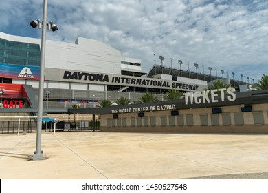 JULY 13, 2019, DAYTONA BEACH, FL: World-famous Daytona International Speedway hosts daily tours of the nearly 500 acre sports complex. Wide shot of the ticket window and large venue sign.