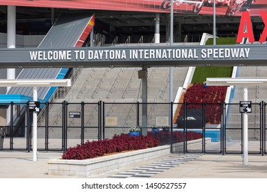 JULY 13, 2019, DAYTONA BEACH, FL: World-famous Daytona International Speedway hosts daily tours of the nearly 500 acre sports complex. Each gate welcomes visitors to the speedway.