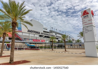 JULY 13, 2019, DAYTONA BEACH, FL: World-famous Daytona International Speedway hosts daily tours of the nearly 500 acre sports complex. This is a wide shot of the Axalta Gate with large venue sign.