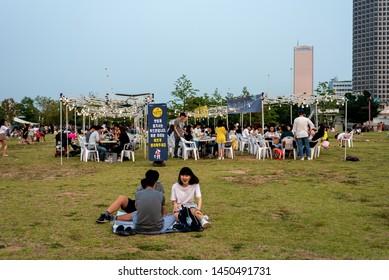 July 13, 2019 Hangang Park, Yeouido, Seoul. Seoul Bamdokkaebi night market Festival Scenery.