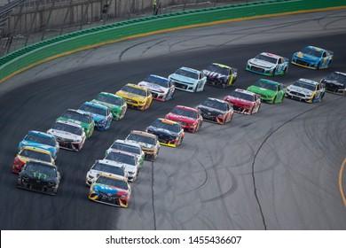 July 13, 2019 - Sparta, Kentucky, USA: Kurt Busch (1) races off through the turn during the Quaker State 400 at Kentucky Speedway in Sparta, Kentucky.