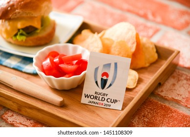 July 13, 2019, Yokohama, Japan, The 2019 Rugby World Cup will be held in several sites across Japan. What's your favorite meal to watch a game with.