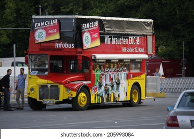"JULY 14, 2014 - BERLIN: a double decker bus with portraits of the German players - impressions from the ""Fanmeile"" on the Strasse des 17. Juni on th day after Germany won the finals, Berlin."