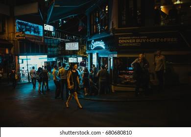 July 14, 2017, Lan Kwai Fong, Hong Kong, China : People meet at bar on happy hour