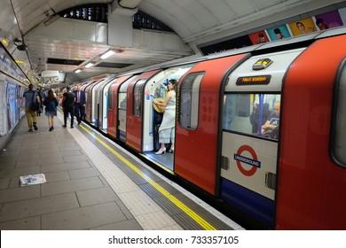 July 14, 2017 London, UK; Tube Underground the main public transportation in London