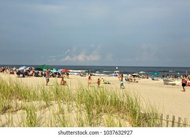 July 14, 2017 Ocean City NJ :  People are enjoying Ocean City's beach.