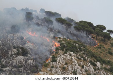July 14, 2017 - Villa Santa Lucia, Frosinone, Italy - Emergency fire in the center of Italy, the firefighting operations of the forest fire in Villa Santa Lucia