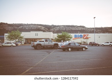 JULY 14 2018 - THE DALLES, OREGON: Sign for a Big K Kmart retail store. Kmart, owned by Sears Holdings, has been steadily closing stores over the past few years.