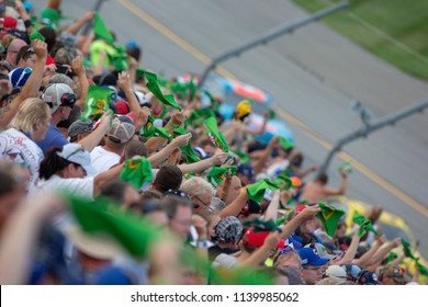 July 14, 2018 - Sparta, Kentucky, USA: Fans cheer for the Monster Energy NASCAR Cup Series teams as the take to the track for the Quaker State 400 at Kentucky Speedway in Sparta, Kentucky.