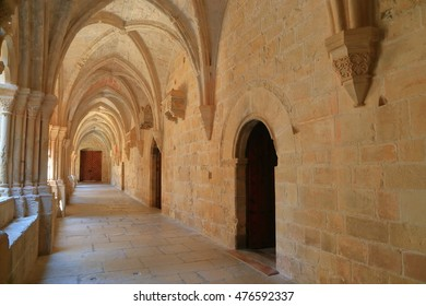 July 15, 2015: Gothic architecture display at the cloister of Royal Abbey of Santa Maria de Poblet (Poblet Monastery) in Catalonia, Spain