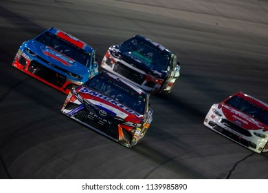July 15, 2018 - Sparta, Kentucky, USA: Kyle Busch (18) races off the turn during the Quaker State 400 at Kentucky Speedway in Sparta, Kentucky.