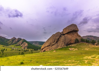 July 16, 2014: The famous Turtle Rock formation in the Terelj National Park, Mongolia