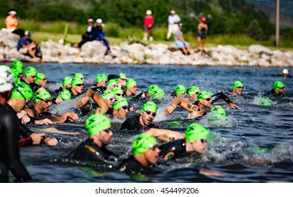 July 16, 2016 - Avon, Colorado, USA: The green wave starts the XTERRA Beaver Creek Mountain Championship.