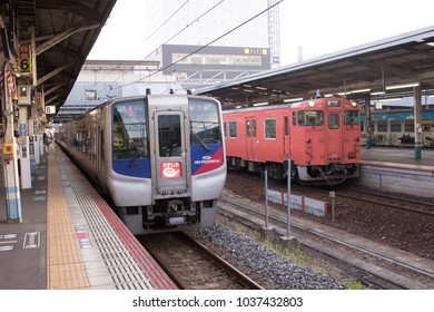 July 16, 2017 - OKAYAMA, JAPAN: JR Shikoku Uzshio Limited Express at Okayama station.