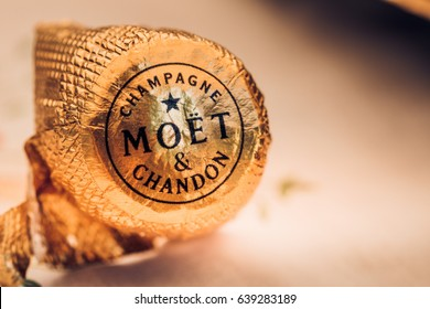 JULY 17, 2014 - LONDON UK - Foil wrapper from a Moet & Chandon champagne bottle, taken at a party in the UK.