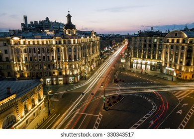 July 17, 2015.Saint-Petersburg.The square named after Leo Tolstoy at evening illumination.Russia.