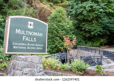 JULY 17 2018 - Columbia River Gorge, OR: Sign for the famous Multnomah Falls in the scenic area