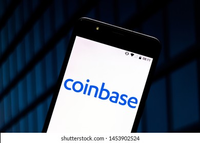 July 17, 2019, Brazil. In this photo illustration the Coinbase logo is displayed on a smartphone.