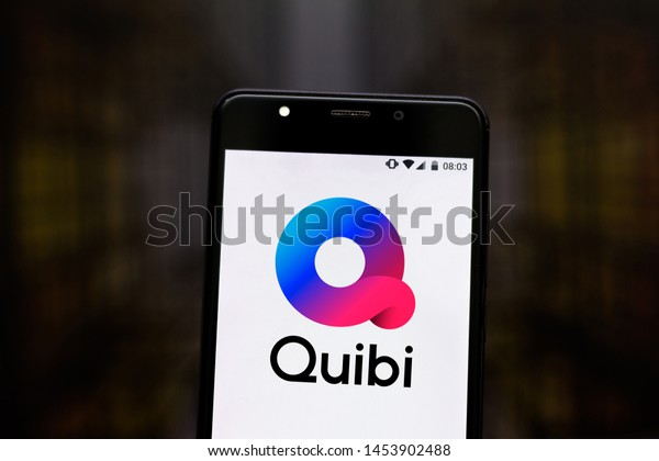 July 17, 2019, Brazil. In this photo illustration the Quibi logo is displayed on a smartphone.