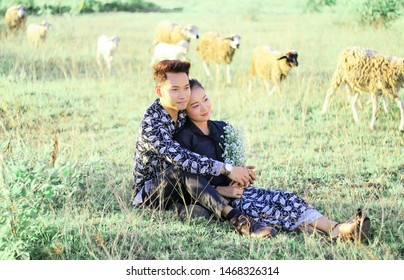 July 17, 2019 photoshoot prewedding bayu and dea at the sultan agung maguwo harjo stadium took place with laughter