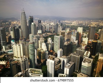 July 18, 2017 - KUALA LUMPUR, MALAYSIA. Aerial view of iconic buildings in Malaysia including Petronas Twin Towers of KLCC.